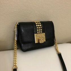 Michael kors tina black leather clutch with studs and gold hardware