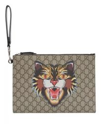 Gucci Angry Cat Clutch Pouch Wristlet Luxury Designer Bag Money Holder GG Print