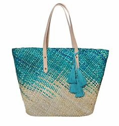 Large Straw Beach Tote Shoulder Bag Washable Lining  Hawaiian Ocean - Blue