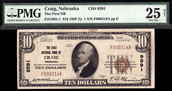 10 1929 T1 First National Bank Of Craig Nebraska Ch 9591 Only 4 Large 11 Small