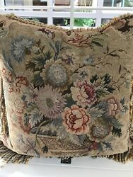 Beautiful French Gobelins Reproduction Tapestry Decorative Pillow Exc Condition