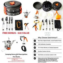 17Pcs Camping Cookware Mess Kit Backpacking Gear amp;Amp;Amp; Hiking Outdoors Bug O $38.99