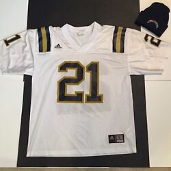 Mens Nfl Chargers Lot Adidas Silkscreen Jersey No 21 White Sz L And Sewn Logo Hat