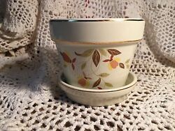 JEWEL TEA AUTUMN LEAF HALL CHINA FLOWER POT WITH SAUCER NEW GREAT GIFT