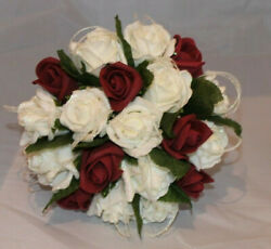 Bridal Burgundy Purple Teardrop Round Bouquets And Packages Quality Low Price