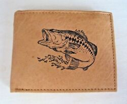 Mens Custom Leather Wallet w LARGE MOUTH BASS FISHING Image *Great Gift*