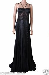 NEW VERSACE BLACK SILK LACE DRESS GOWN 46 - 10
