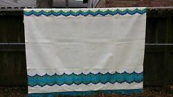 Vintage White Turquoise Green Cafe Window Curtain 30x34 Free Shipping