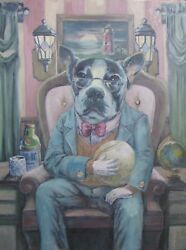 Bourgeois Terrier Original Oil Painting - 18x24 By Woodrow Wilson Cowher