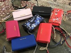 AUTHENTIC MICHAEL KORS LEATHER JET SET TRAVEL LARGE PHONE WALLET ON CHAIN
