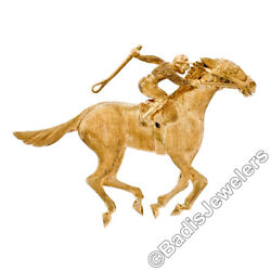Vintage 18K Yellow Gold Highly Detailed Textured 3D Horse & Jockey Brooch Pin