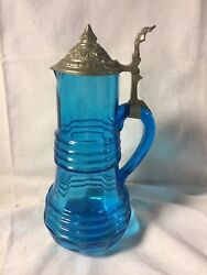 Large Blue Blown Glass Wine Pitcher With Pewter Lid Germany Wn29