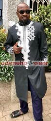 Odeneho Wear Menand039s Polished Cotton Long Top/embroidery Design.african Clothing.