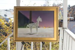 Contemporary Art Rocinante- Oil, 18x24 Framed Origami Horse Painting