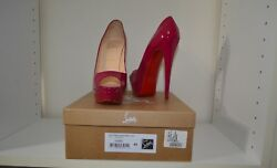Christian Louboutin Lady Peep Pumps 40 150mm Patent Framboise / Cranberry In Box