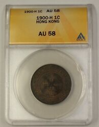 1900-h Hong Kong Large Cent 1c Bronze Coin Anacs Au-58 Almost Uncirculated