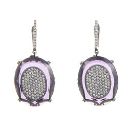 French Collection 18k White Gold Diamond Pave Amethyst Earrings