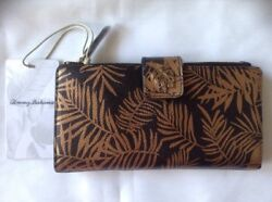 Tommy Bahama Cocoa Beach Travel Wallet Bronze Botanical Tropical Leaves Print