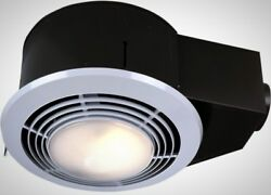 Bathroom Ceiling Exhaust Fan Light Heater 100 CFM Combination Round Steel Best