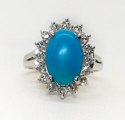 Vintage 14k White Gold Diamond And Turquoise Cluster Ring Size 6.5 Womens Ring