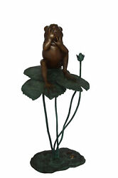 Frog On Lotus Bronze Fountain Statue - Size 22l X 20w X 44h.