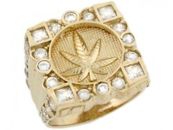 10k Or 14k Real Yellow Gold Cluster White Cz Cannabis Weed Pot Mens Ring