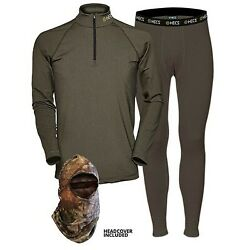 Hecs Suit Base Layer Hunting Suit - 3 Piece Shirt Pants Headcover   Sm-3x