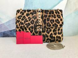 $2895 VALENTINO Glam Lock Leopard Shoulder Bag Rock Stud Leather Chain Calf Hair