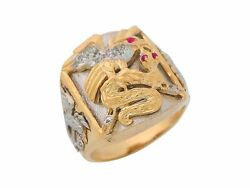 10k Or 14k Two-tone Gold Simulated Ruby White Cz Mens Eagle And Snake Large Ring