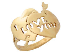 10k Or 14k Yellow Gold High Polish Two Hearts I Love You Phrase Ladies Ring