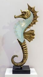 Fused Glass And Bronze Seahorse 1 Meter High On A Marble Base - Handmade In Greece
