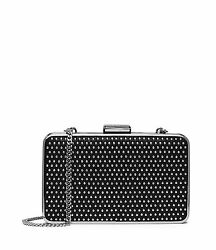 Michael Kors Elsie Microstud Micro Studded Box Clutch Evening Bag (BlackSilver)