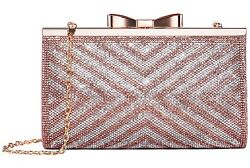 Yuenjoy Womens Rhinestone Clutch Purse Evening Bags with Bow Closure Rose Gold 2