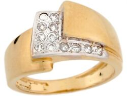 10k Or 14k Two Tone Real Solid Gold Cz Wrap Syle High Polish Band Ring