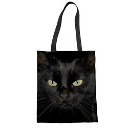 Black Cat Designs Handbag Women Eco Shopper Satchel Soft Canvas Totes Purse $11.99