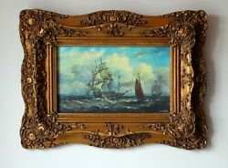 Oil Painting By E.w. Cooke. 32x19.5cm 12,6x7.7 With Frame
