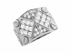 10k Or 14k Real Solid White Gold White Cz Cluster Bolt Thick Mens Ring