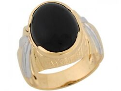 10k Or 14k Two Tone Gold Onyx Art Deco Design Band Mens Ring