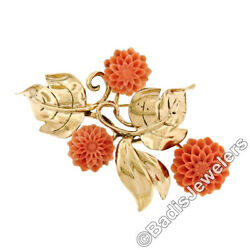 Vintage Gilbert 14k Yellow Gold Detailed Carved Coral Flower And Leaf Pin Brooch