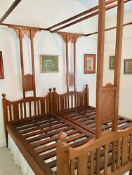 Antique Victorian Colonial Teak Indian Twin Canopy Bed Pair 3and039-4 By 6and039-5 Each