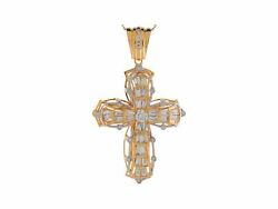 10k Or 14k Yellow Gold White Cz Intricate Hip Hop Religious Cross Big Pendant
