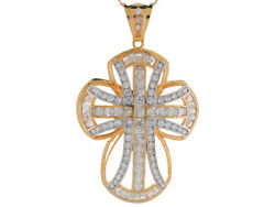 10k Or 14k Yellow Gold White Cz Intricate Fancy Religious Cross Large Pendant