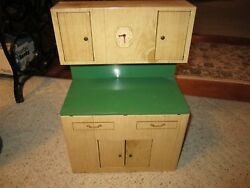Vintage Wolverine Tin Toy Tan And Green Childs Play Cupboard Nice