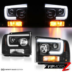 For 05-07 Ford F250 F350 F450 Superduty Black Led Tube Projector Headlight Lamp