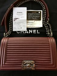 authentic CHANEL Boy Bag Old Medium horizontal quilted burgundy calf leather