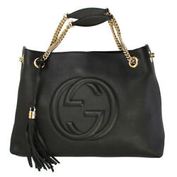 BRAND NEW GUCCI BLACK LEATHER WITH LOGOS TOTE BAG 308982