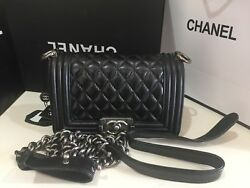 Le Boy Small Black Quilted Lambskin Shoulder Bag with Ruthenium HW