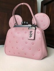 COACH Dusty Rose Minnie Mouse Pink Gunmetal Limited Edition1941 Kisslock bag