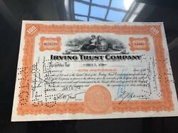 Irving Trust Stock Certificate 100 Shares. Signed And Stamped. Year 1942 Rare