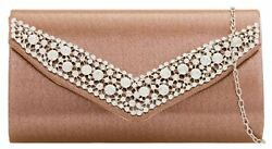Elegant Ladies Clutch Bag Satin Metallic Frame Gemstones Rose Gold Evening